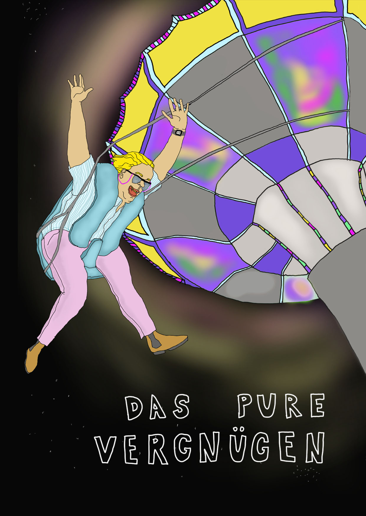 Illustration: Frau auf Kettenkarussell mit Armen in der Luft